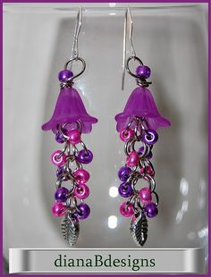 Chain Maille Shaggy Loop Beaded Earrings lavender by dianaBdesigns, $15.00