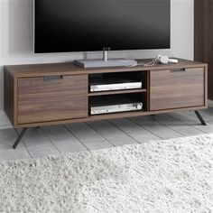 Palma TV Cabinet with Iron Feet, Walnut