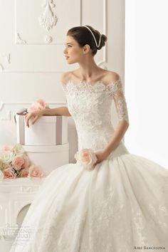 aire barcelona 2013 real lace short sleeve wedding dress