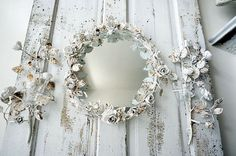 White tole rose mirror w/ candle sconce set by AnitaSperoDesign