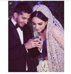 Lebanese bride - love the headpiece and veil!!