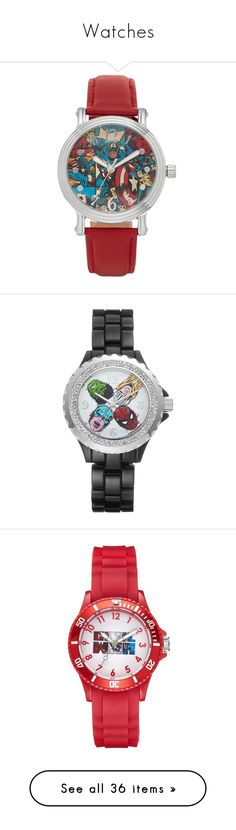 """""""Watches"""" by nicollebazan ❤ liked on Polyvore featuring jewelry, watches, accessories, logo watches, leather band watches, leather watches, water resistant watches, marc jacobs jewellery, marvel and relojes"""