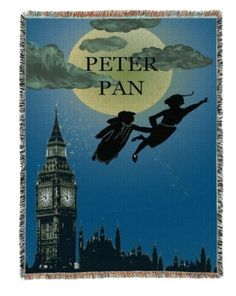 A bookish blanket with a scene from the classic story, Peter Pan.