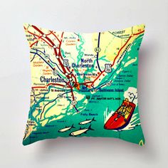 Fun and funky map art 18x18 pillow cover of the South Carolina coast and Charleston area. A $5 donation from every sale will be made to the