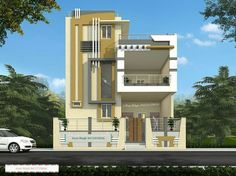 Pin by azhar masood on house elevation indian compact in 201 Dream House Exterior, Dream House Plans, Modern House Plans, Building Elevation, House Elevation, Bungalow House Design, House Front Design, Building Design, Building A House