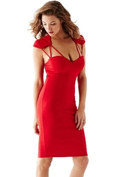 Red Hollow Out Sexy Strappy Cutout Backless Slim Midi Dress