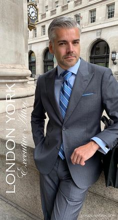 London York Executive Attire - Best Fashions for All Blazer Fashion, Mens Fashion Suits, Mens Suits, Gentlemans Club, Beard Suit, Gq Mens Style, Men's Business Outfits, Blue Suit Men, Gentlemen Wear