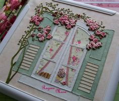 English Country Garden quilt - Hand embroidery and watercolour painting - block 3 Embroidery Flowers Pattern, Hand Embroidery Stitches, Silk Ribbon Embroidery, Embroidery Hoop Art, Hand Embroidery Designs, Embroidery Techniques, Cross Stitch Embroidery, Creative Embroidery, Brazilian Embroidery
