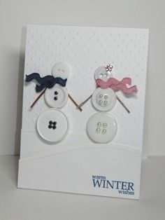 Button Snowmen - Click image to find more DIY & Crafts Pinterest pins