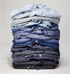 stack of chambray. Photo by Gary McLeod for San Francisco magazine