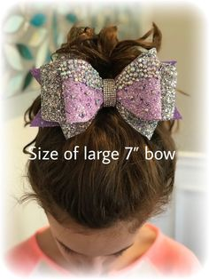 Items similar to Cheer bow set//Large cheer bow and bow to match//pink and gold bow on Etsy - Cheer bow set//Large 7 cheer bow and 4 bow to Handmade Hair Bows, Diy Hair Bows, Diy Bow, Ribbon Hair, Ribbon Flower, Fabric Flowers, Cheer Bows, Team Cheer, Christmas Hair Bows