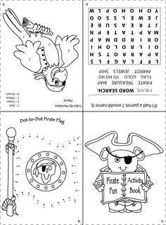 Printable pirate activity sheet for goodie bags