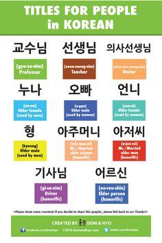 Titles For People in Korean