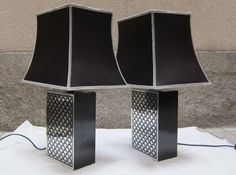 Silkscreened aluminum pair of table lamps. Italy 60' | From a unique collection of antique and modern table lamps at https://www.1stdibs.com/furniture/lighting/table-lamps/