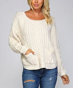 Ivory Cable-Knit Pocket-Front Sweater