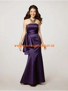 2012 Glamoures Brautjungfernkleid aus Satin Bodenlang Trägerlos
