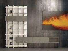 Librería abierta composable lacada SLIM EVOLUTION 55 Colección Slim by Dall'Agnese | diseño Imago Design, Massimo Rosa