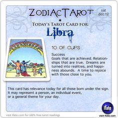 Zodiac Tarot for December 12: Libra <br>  http://ifate.com