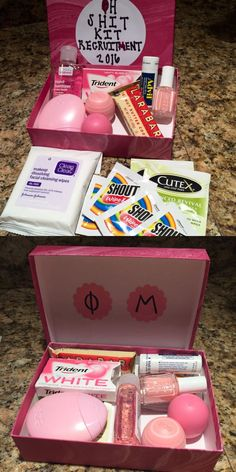 """Oh Shit Kit"" for sorority recruitment - Phi Mu - College Rush care package - Small Care Package (repurposed /birchbox/) - Filled with /eosproducts/, /cutexus/, /essiepolish/ and /larabar/ - Made by /krity_cent/"