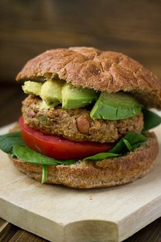 """Quinoa Veggie Burger. Since the patty is high in carbs already, consider serving this wrapped in a """"lettuce bun"""" instead! (TG)"""