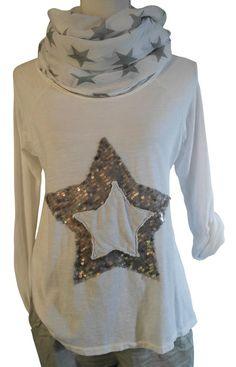 D&F Impressionen Shirt weiss weiß Stern Pailletten silber Pulli Longshirt 38 40