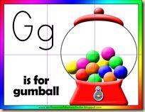Letter G printables. Gumball printables.