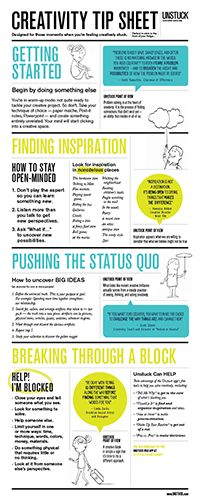 "A printable tip sheet for when you're uninspired, unmotivated, or unhappy with your progress. It works with ""regular"" problems as well as creative ones."