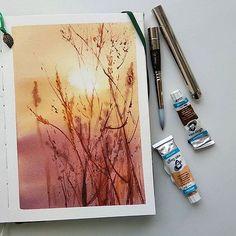 АКВАРЕЛЬНЫЙ БУМ (@watercolor.boom) • Фото и видео в Instagram Watercolor Scenery, Watercolor Projects, Watercolor Landscape Paintings, Watercolour Art, Watercolors, Different Art Styles, Nature Artwork, Learn Art, Art Journal Inspiration