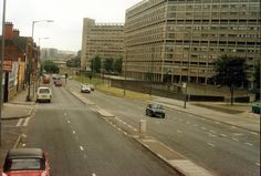 Infirmary Road with Kelvin Flats on the right Nostalgic Images, Northern England, South Yorkshire, Classic Mini, Brutalist, Modernism, Photographs, Photos, Sheffield