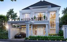 Jasa Arsitek Jakarta Timur Desain Rumah Bapak Will Hans Classic House Exterior, Classic House Design, Dream House Exterior, Modern House Design, Flat Roof House, Facade House, House 2, House Fence Design, House Plans Mansion