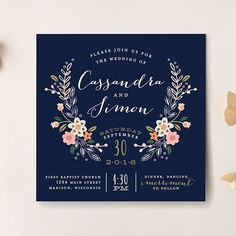"""Brides: Formal Navy Invitation with Floral Crest. """"Wildflower Crest"""" wedding invitation, starting at $204 for 100 invitations, Alethea and Ruth for Minted"""