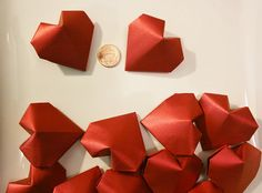 12 Origami Hearts (3D).Handmade.Paper Heart. Shine Red Satin.Wedding Favor.Bridal shower.Home decor.Gift for her.Valentine's Day.Red heart