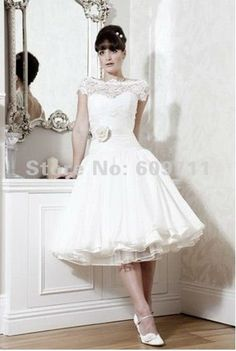 Vintage Off the Shoulder A line Flower Chiffon Lace Knee Length Short Wedding Dress Little White Dress-in Wedding Dresses from Apparel & Accessories on Aliexpress.com $157.00