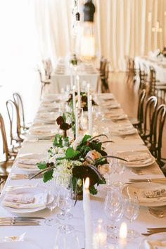tall taper candles + long tables   bash, please via once wed