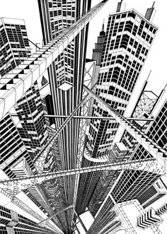Fine line black ink hand drawn perspective cityscape illustration 3 Point Perspective, Perspective Drawing, Architecture Concept Drawings, Teaching Art, Zentangle, Line Art, Art Drawings, Drawing Sketches, Concept Art