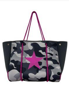 N101PCS/Grey Camo Tote w/Pink Star Pink Stars, Birthday List, Stitch Design, Sale Items, Camo, Gym Bag, Coin Purse, Pouch, Zip