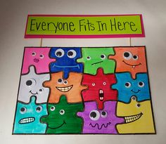 Fits In Here - DIY Puzzle Activity for Inclusive Fun Puzzle idea for Bully Prevention Month - great for a community bulletin board accent. Spread awareness about bullying, and promote kindness and friendship.Anti-bullying Anti-Bullying may refer to: Bullying Bulletin Boards, Classroom Bulletin Boards, Classroom Door, Bulletin Board Ideas For Teachers, Counseling Bulletin Boards, Bulletin Board Boarders, Teamwork Bulletin Boards, Puzzle Bulletin Boards, Unique Bulletin Board Ideas
