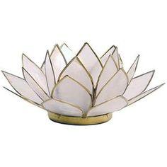 Porte Bougie Fleur de Lotus Blanc et or