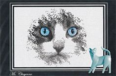 Ms Cheyenne by Ronnie Rowe Designs features a beautiful cat with blue eyes.