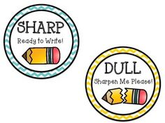 Sharp and Dull pencil cup labels @brookesbundles #tpt