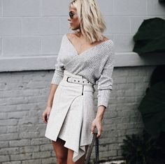 ALL IMAGES:ALAINA MULLIN HEEL | SKIRT (SIMILAR) | SWEATER| BAG (SIMILAR) I was lucky enough to snag one of the last of this Isabel Marant wrap skirt after seeing it on the runway! I love how stru…