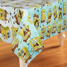 All Birthday party decorations start with a tablecover. The SpongeBob Classic Plastic Tablecover is perfect for SpongeBob fans!! The SpongeBob SquarePants Tablecover has a white center and a blue bord