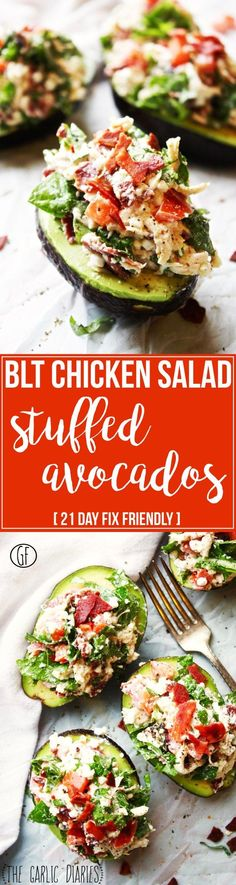 BLT Chicken Salad Stuffed Avocados -- a scoop of avocado + a bite of BLT chicken salad = the perfect, most delicious, healthiest thing evaaaaaa!