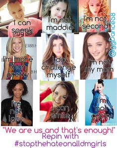 #stopthehateonalldmgirls *PLEASE READ*we shouldn't be saying stop the hate in Nia or maddie or anyone because they all get hate. It's nit their fault. They are nor,al kids outside of all this drama and we should respect that. You don't treat them any way you wouldn't want to be treated. These girls are amazing and none of them deserve hate but they all get it. stop focusing on one person amd look at the user all thing. Thanks for reading. Please done comment hate thanks. Love, ggDance58