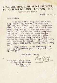 Rejection Letter to Gertrude Stein
