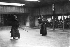Takano Sasaburo (left) and Nakayama Hakudo (right) during andemonstration of the Dai Nippon Teikoku Kendo Kata at Noma Dojo