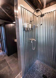 Industrial bathroom decor - Jump Shack Steel or Galvanized metal shower Cabin Bathrooms, Rustic Bathrooms, Barn Bathroom, Garage Bathroom, Bathroom Ideas, Downstairs Bathroom, Farm Style Bathrooms, Bathroom Images, Bathroom Cabinets