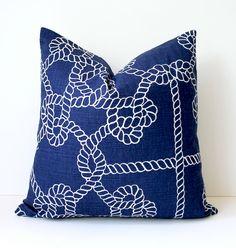 Rope Nautical Navy Blue Designer Pillow Cover 18 White Accent Cushion Knots modern coastal cottage dark indigo sailor resort summer