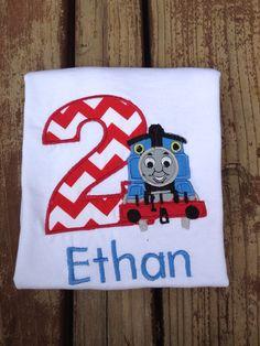 Personalized Thomas the train birthday shirt on Etsy, $20.00