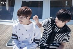 """[BTS in America: Marine Boys of America] - JIMIN & JUNGKOOK Date: August 10th 2014 Location: Marina del Rey, LA """"However, we felt the best! The 'flat' youngest member of BTS also acted charmingly today. It can't easily be seen every day~"""""""